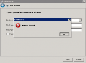 Access denied when adding TCP/IP printer port in Windows 2008